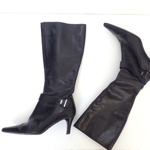 JOAN & DAVID Tall Black Leather Pointy Boots